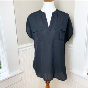 Inc black shirt - short sleeve w. great drape